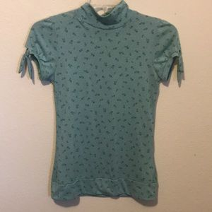 Green floral cap sleeve top Size Large
